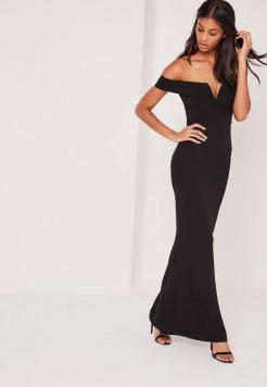 black-velvet-bardot-v-plunge-maxi-dress