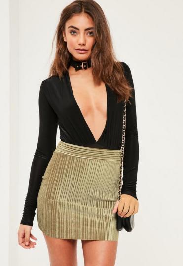 petite-exclusive-khaki-velvet-pleated-mini-skirt
