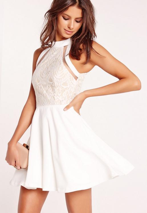 mesh-stripe-lace-top-skater-dress-white