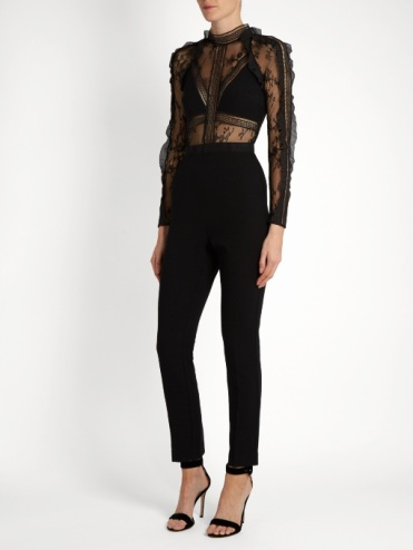 Hall black lace and crepe jumpsuit