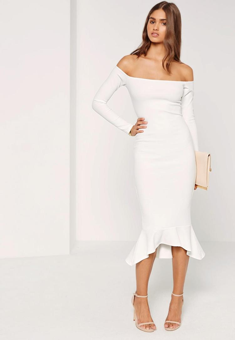 bardot-fishtail-hem-dress-white