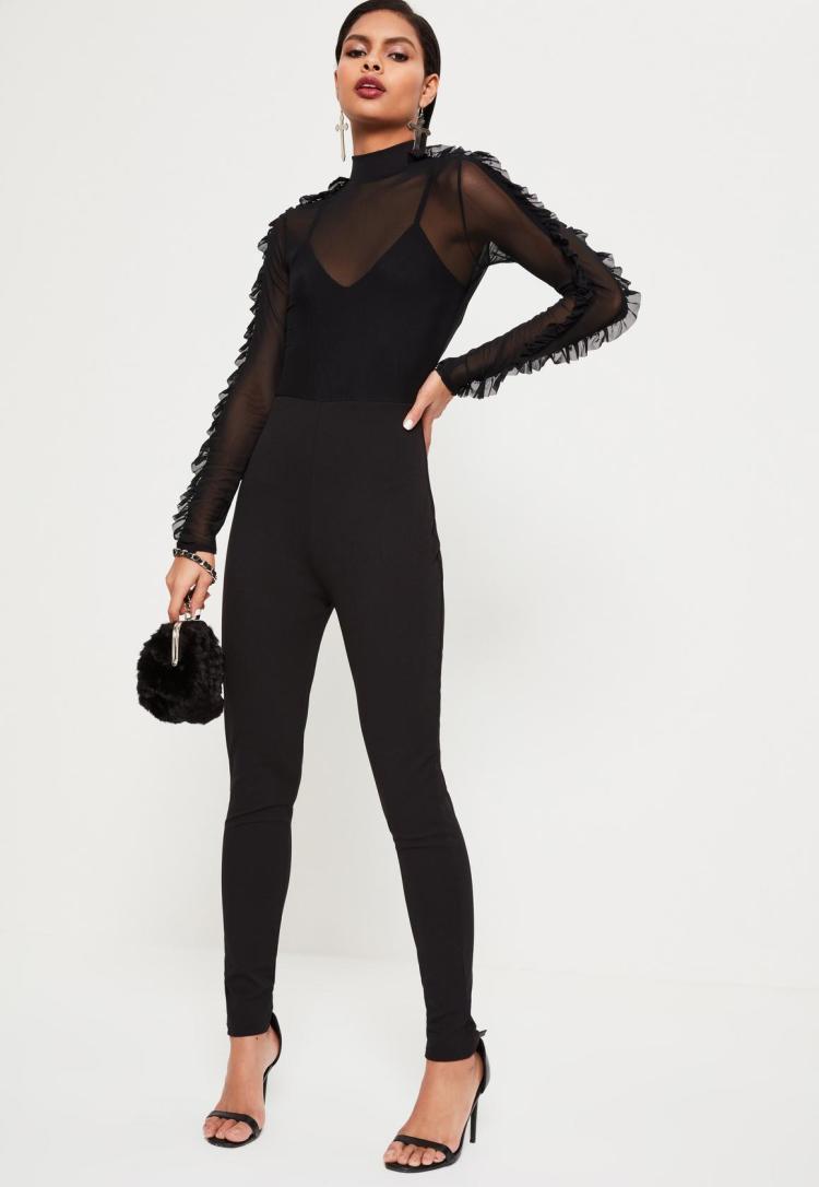 black-mesh-top-frill-sleeve-jumpsuit