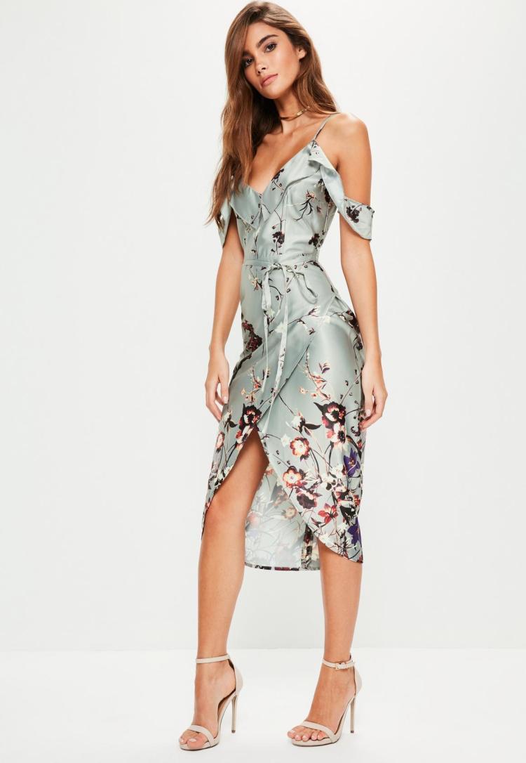 grey-frill-floral-midi-dress