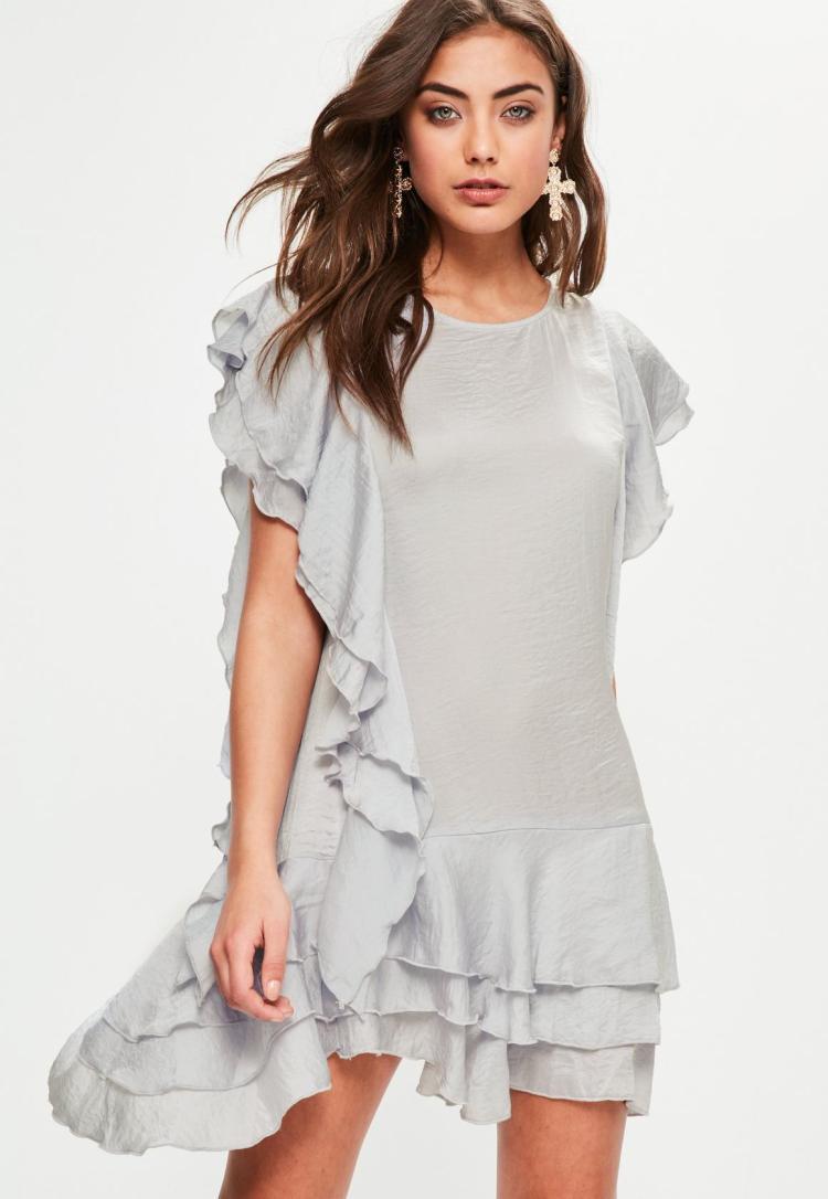 grey-ruffle-layered-mini-dress